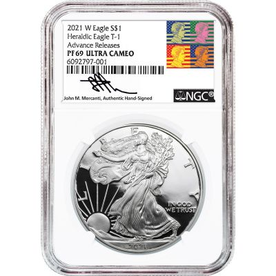 2021-W Type 1 American Silver Eagle NGC PF69UCAM Advance Releases Reagan Mercanti Label
