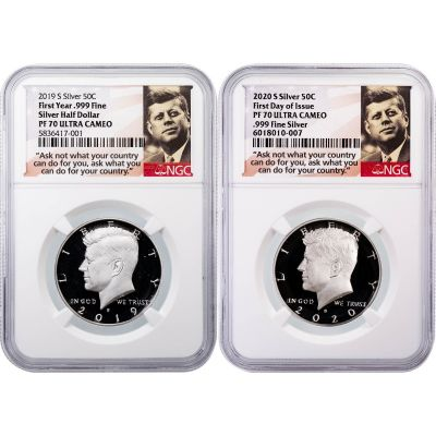 Set of 2: 2019-2020-S Silver Kennedy Half Dollars SF Mint Collectors Set