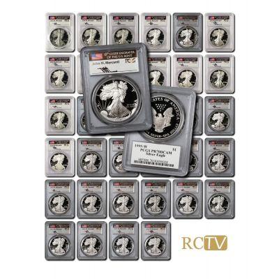 Set of 35: 1986-2021 American Silver Eagles PCGS PR70DCAM Mercanti Signature Flag Label