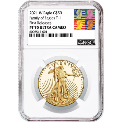 $50 2021-W 1oz Type 1 American Gold Eagle NGC PF70 UCAM First Releases Reagan Label
