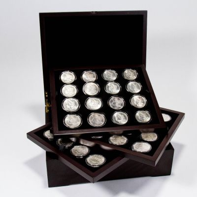 Set of 45: 1878-P - 1921-S Morgan Dollars Brilliant Uncirculated With Wooden Box