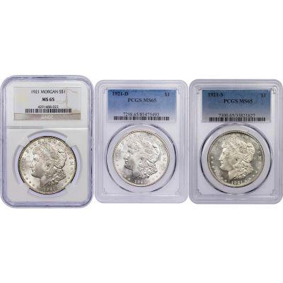 Set of 3: 1921-P, 1921-D, 1921-S Morgan Dollars NGC/PCGS MS65