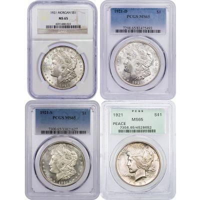 Set of 4: 1921 P, D, S Morgan & 1921-p Peace Dollars NGC/PCGS MS65