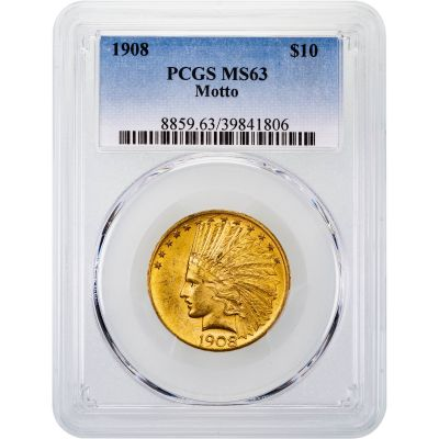 1908-P With Motto Indian Head Gold Eagle MS63