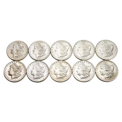 Ten Different Dates/Mintmarks Morgan Dollars BU