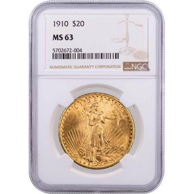 1910-P Saint Gaudens $20 Gold Double Eagle NGC/PCGS MS63