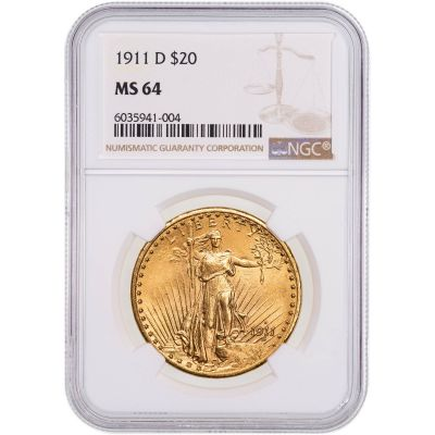 1911-D Saint-Gaudens Gold Double Eagle MS64