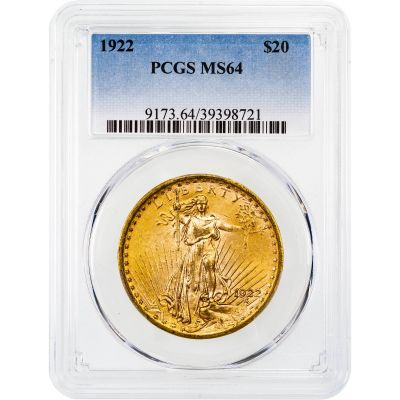 1922-P Saint-Gaudens Gold Double Eagle MS64