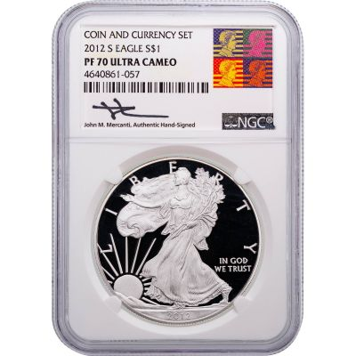 2012-S American Silver Eagle NGC PF70 UCAM Reagan-Mercanti Label
