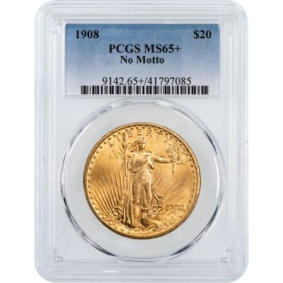 1908-P No Motto Saint Gaudens $20 Gold Double Eagle NGC/PCGS MS65+