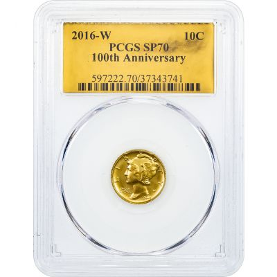 2016-W 1/10 oz 24K Gold Centennial Commemorative Mercury Dime SP70