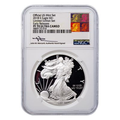 2018-S American Silver Eagle NGC PF70UCAM Reagan Mercanti