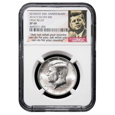 2014-D Silver Kennedy Half Dollar High Relief SP69