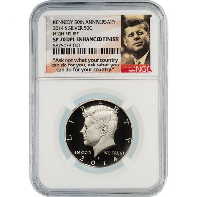 2014-S Silver Kennedy Half Dollar High Relief SP70 DPL Enhanced Finish