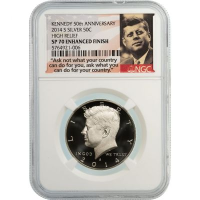 2014-S Silver Kennedy Half Dollar High Relief SP70 Enhanced Finish