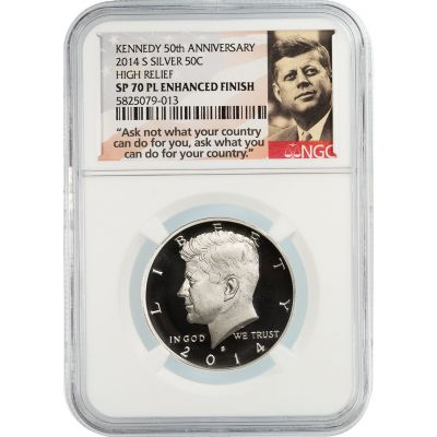2014-S Silver Kennedy Half Dollar High Relief SP70 PL Enhanced Finish