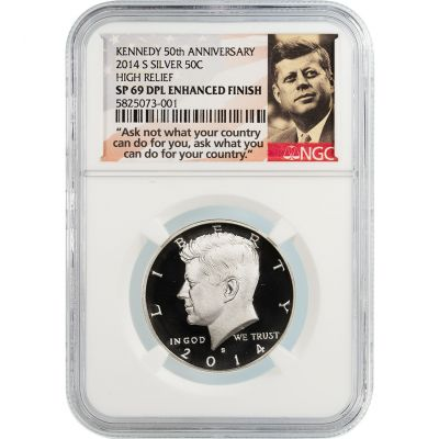 2014-S Silver Kennedy Half Dollar High Relief SP69 DPL Enhanced Finish