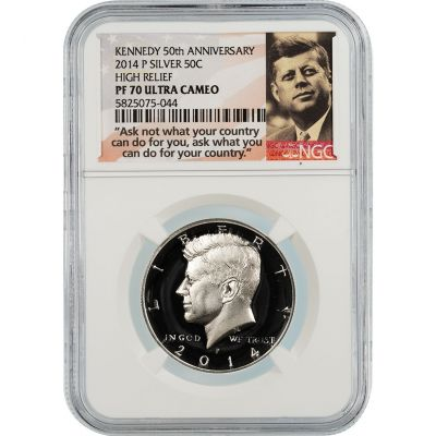 2014-P Silver Kennedy Half Dollar High Relief PF70 Ultra Cameo