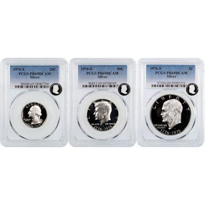 Set of 3: 1976-S Silver Bicentennial Set PCGS PR69 DCAM ECC
