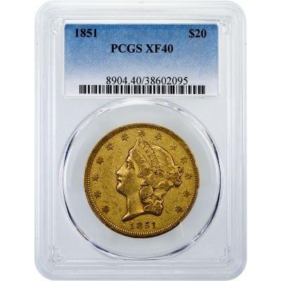1851-P Liberty Head Gold Double Eagle XF40