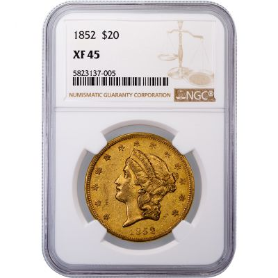 1852-P Liberty Head $20 Gold Double Eagle XF45