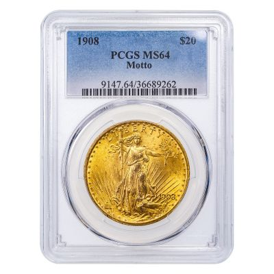 1908-P With Motto Saint-Gaudens Gold Double Eagle MS64