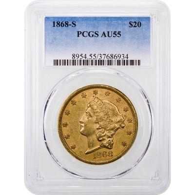 1868-S Liberty Head Gold Double Eagle AU55