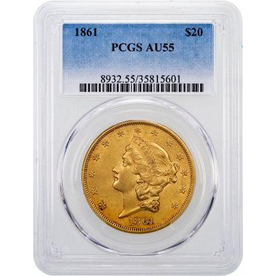 1861-P Liberty Head Gold Double Eagle AU55
