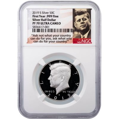 2019-S .999 Silver Kennedy Half Dollar NGC PF70UCAM First Year of Issue