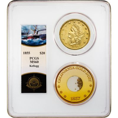 1855 Kellogg SSCA Liberty Head Gold Double Eagle MS60