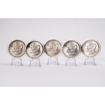 Set of 5: 1881-S, 1884-O, 1885-O, 1887-P & 1880-S Morgan Dollars Brilliant Uncirculated