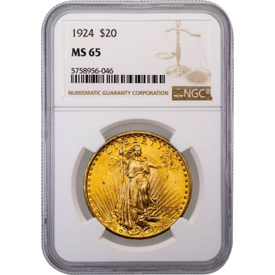 1924-P Saint-Gaudens Gold Double Eagle MS65