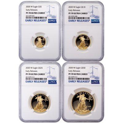 Set of 4: 2020-W American Gold Eagle Set PF70 UCAM
