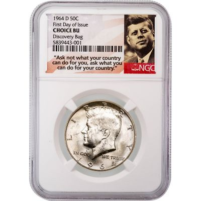 1964-D Kennedy Half Dollar Choice Brilliant Uncirculated First Day of Issue