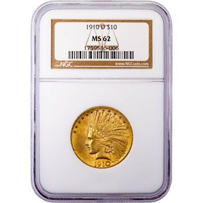 1910-D Indian Head Gold Eagle MS62