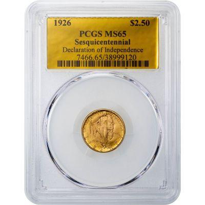 1926-P Sesquicentennial Gold Commemorative Quarter Eagle MS65