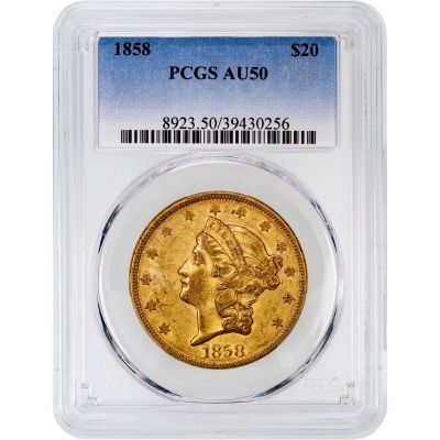 1858-P Liberty Head Gold Double Eagle AU50