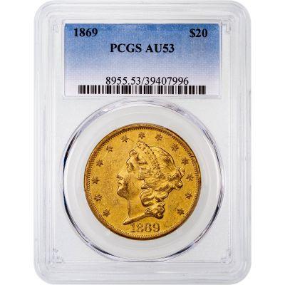 1869-P Liberty Head Gold Double Eagle AU53