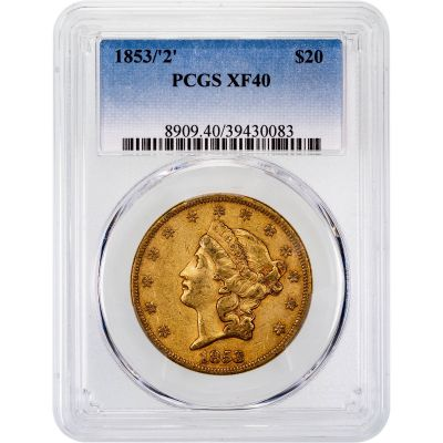 1853/2-P Liberty Head Gold Double Eagle XF40
