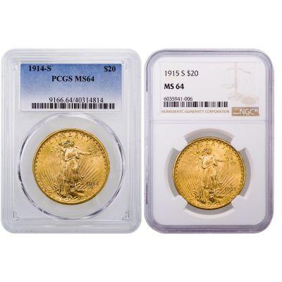 Set of 2: 1914-S & 1915-S Saint-Gaudens Gold Double Eagle MS64