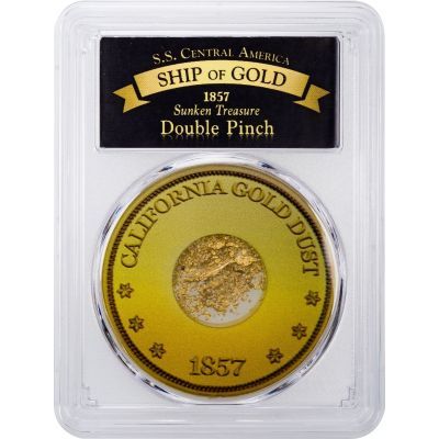 1857 Gold Double Pinch from the SS Central America in PCGS Holder
