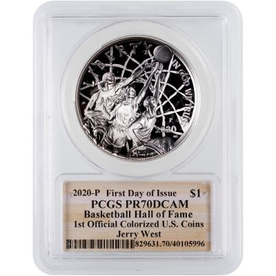 2020-P Jerry West Colorized Silver Basketball Commemorative Dollar FDI PCGS PF70DCAM