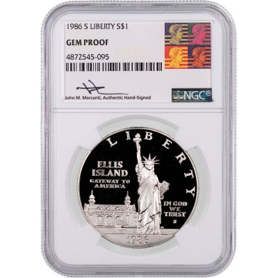 1986-S Ellis Island Commemorative Coin NGC Gem Proof Reagan Mercanti