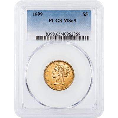 1899-P Liberty Head $5 Gold Half Eagle MS65