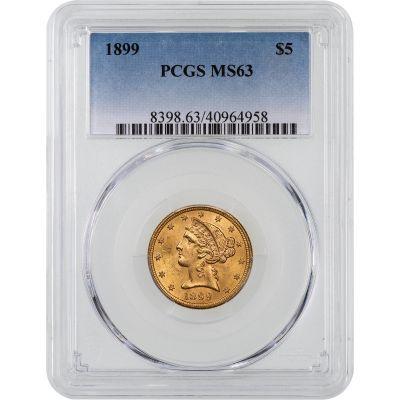 1899-P Liberty Head Gold Half Eagle MS63