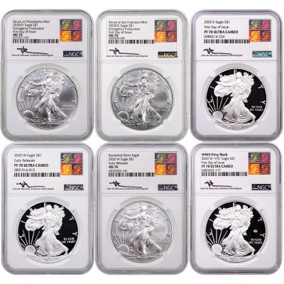 2020 American Silver Eagle Ultimate Collector's Set of 6 NGC MS70/PF70 Reagan Mercanti Label