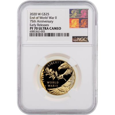 2020-W 1/2oz WWII 75th Anniversary Gold Commemorative NGC PF70 UCAM Early Releases Reagan Label