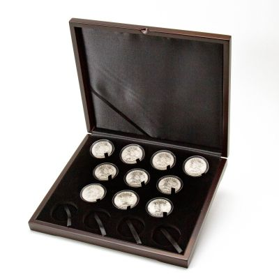 Set of 10: Varied Date Morgan and Peace Silver Dollars BU