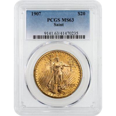 1907-P Saint-Gaudens Gold Double Eagle MS63