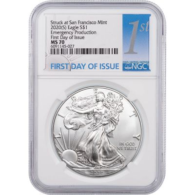 """2020 (S) American Silver Eagle NGC MS70 FDI """"Emergency Production"""""""